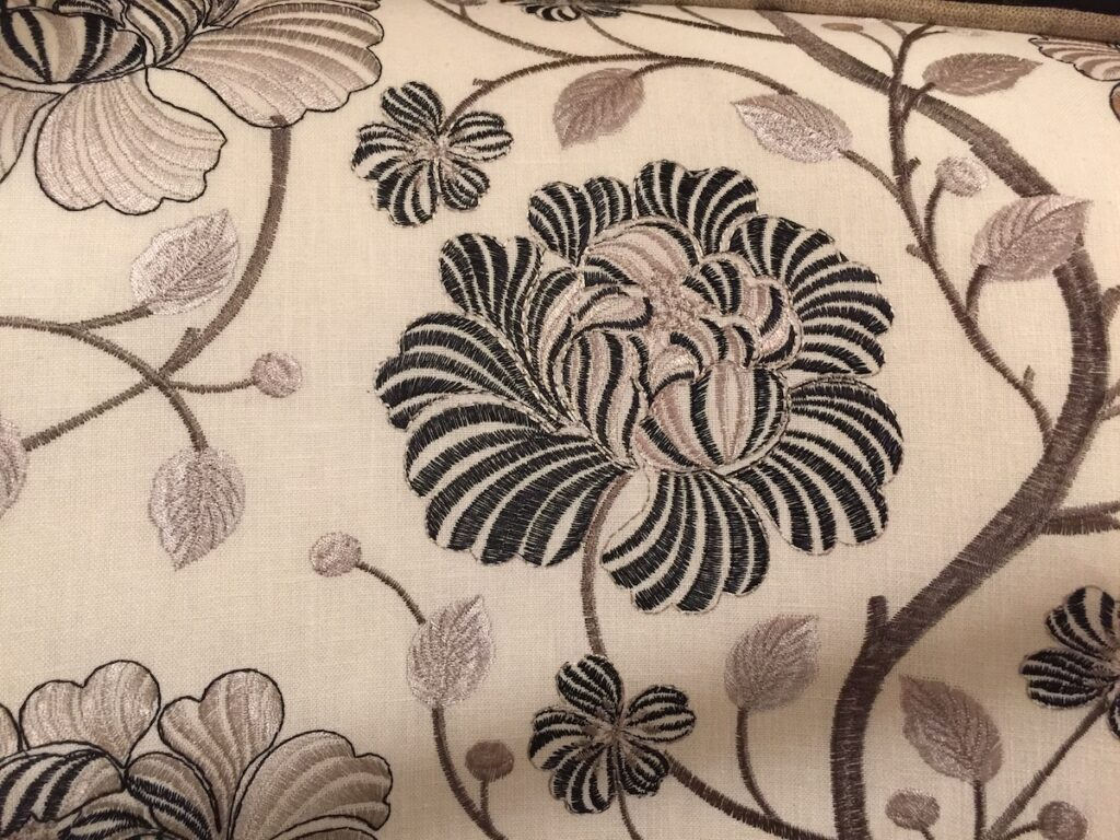 The pattern on the Currey & Company Taylor chair was one of our favorite dark florals.
