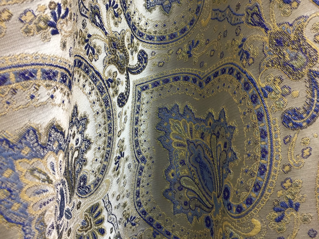 A baroque-inspired pattern by S& B Silk & Beyond at Heimtextil is an example of how navy is trending globally.