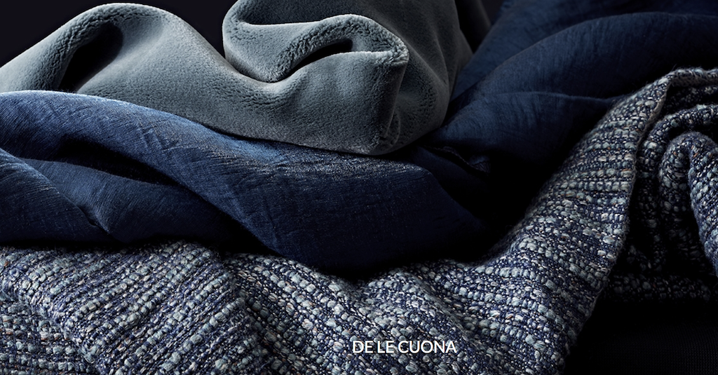 De Le Cuona fabrics that debuted during Paris Déco-Off included shades of navy.