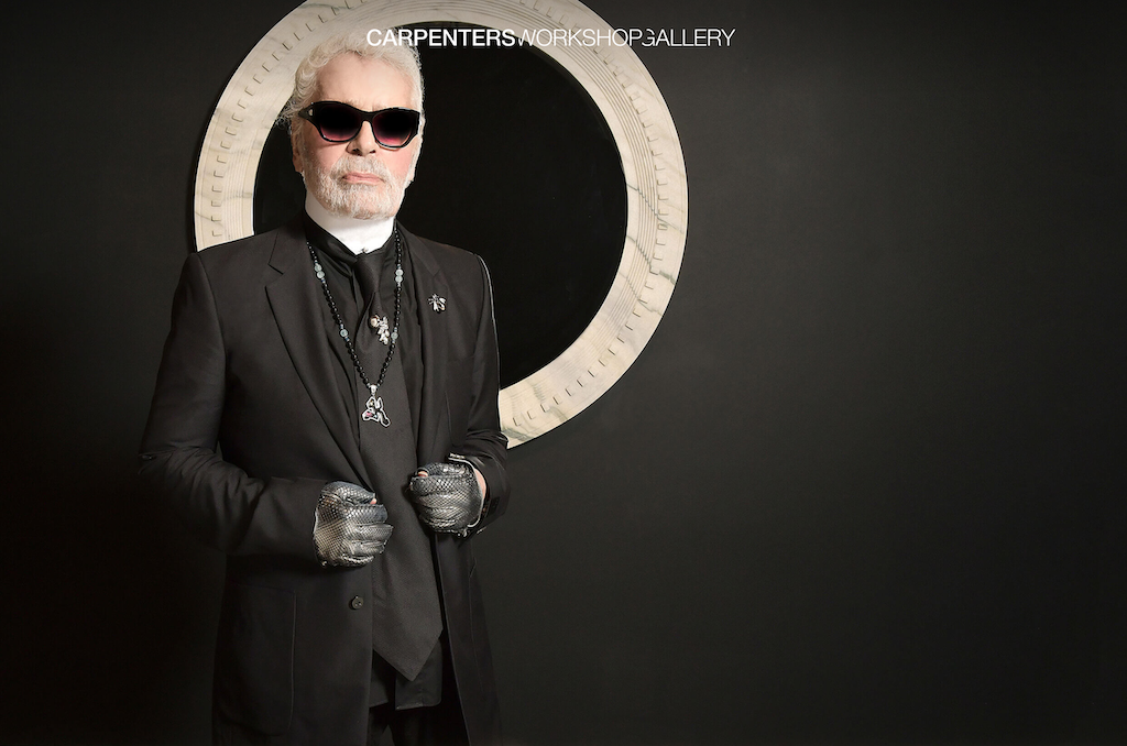 Karl Lagerfeld with a piece from his new Architectures Collection.