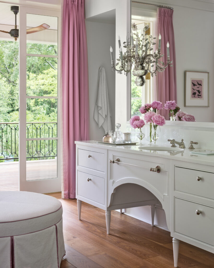 """A beautiful bathroom with hints of pink published in the book """"Sophisticated Simplicity."""""""