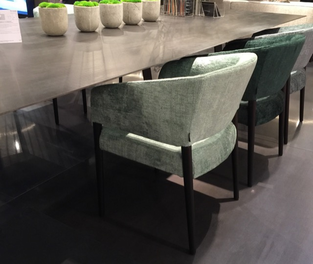 Other home decor color trends include chairs by Triss in mossy shades of velvet at Maison et Objet.