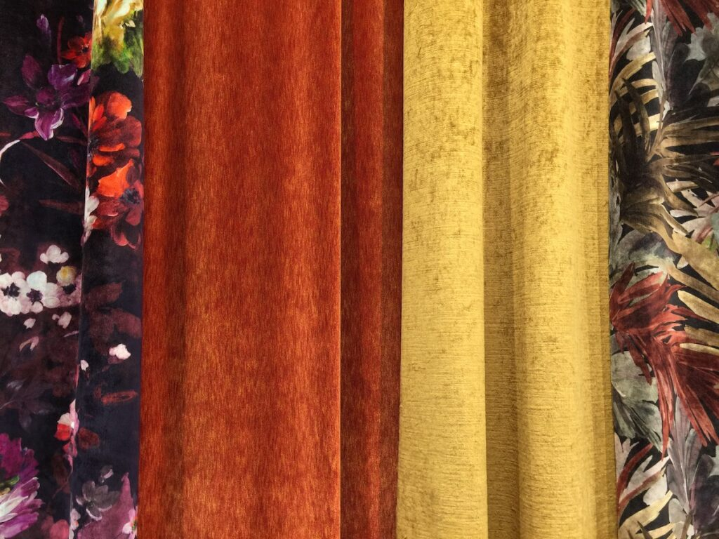Deep cinnamon and dusky mustard velvets are color trends brought to Heimtextil by Vigano.