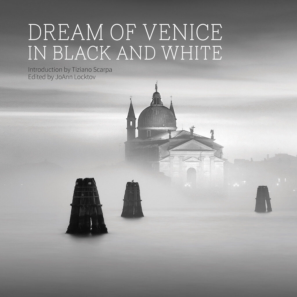 """The cover image of Dream of Venice in Black and White, titled """"Il Redentore,"""" was photographed by Lisa Katsiaris, who offers prints for sale online."""