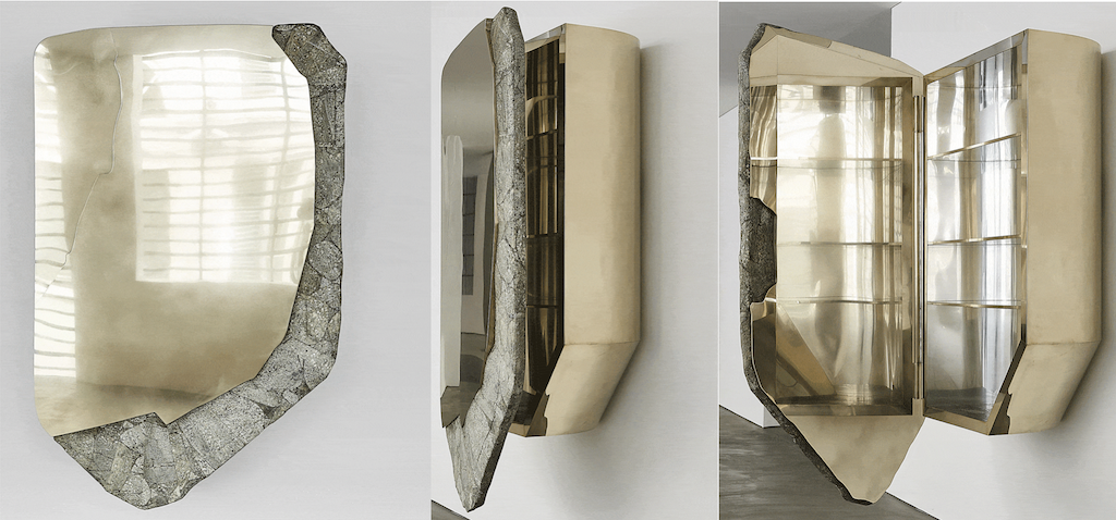 The DC 1812 wall cabinet by Vincenzo de Cotiis is featured in the En Plein Air exhibition at Carpenters Workshop Gallery in London, perfect for our asymmetrical and organic shapes theme.
