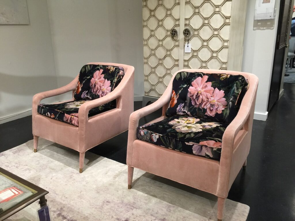 Bruce Andrews Design's Laurence Chair was truly stunning in dark florals mixed with pink.