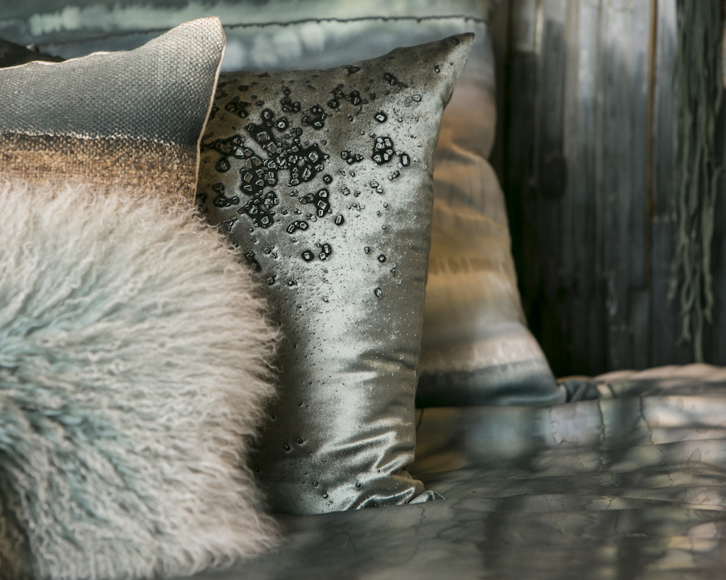Aviva Stanoff products include shimmery textiles