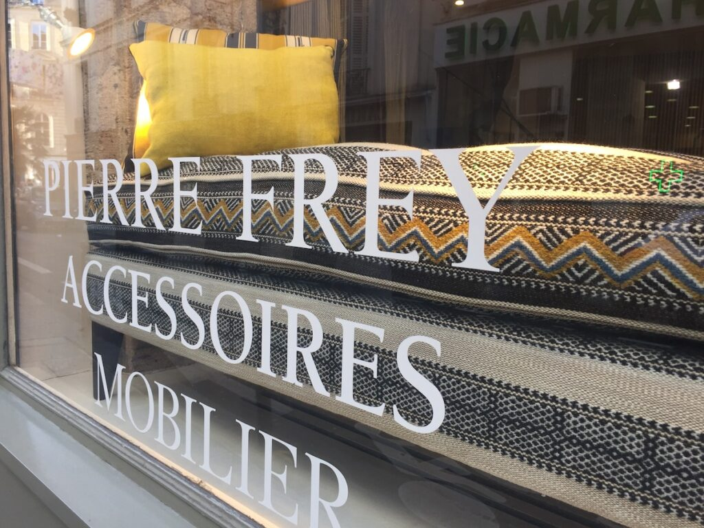 The mustard yellow I was seeing everywhere was in the Pierre Frey showroom window on the Left Bank.