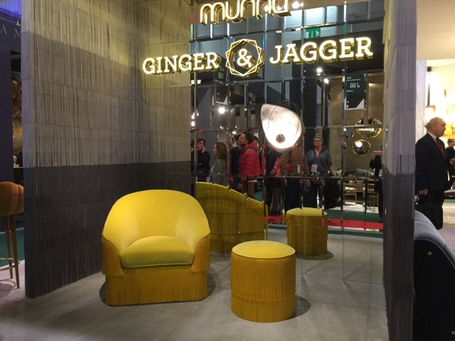 Munna's Fringes armchair and stool in a hot mustard yellow are front and center on our trends list.