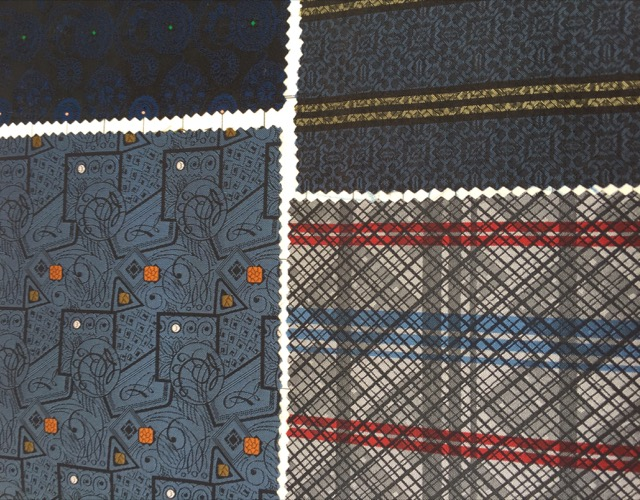 A page from a 19th-century Alsatian fabric sample book in the Potterton booth at Maison et Objet.