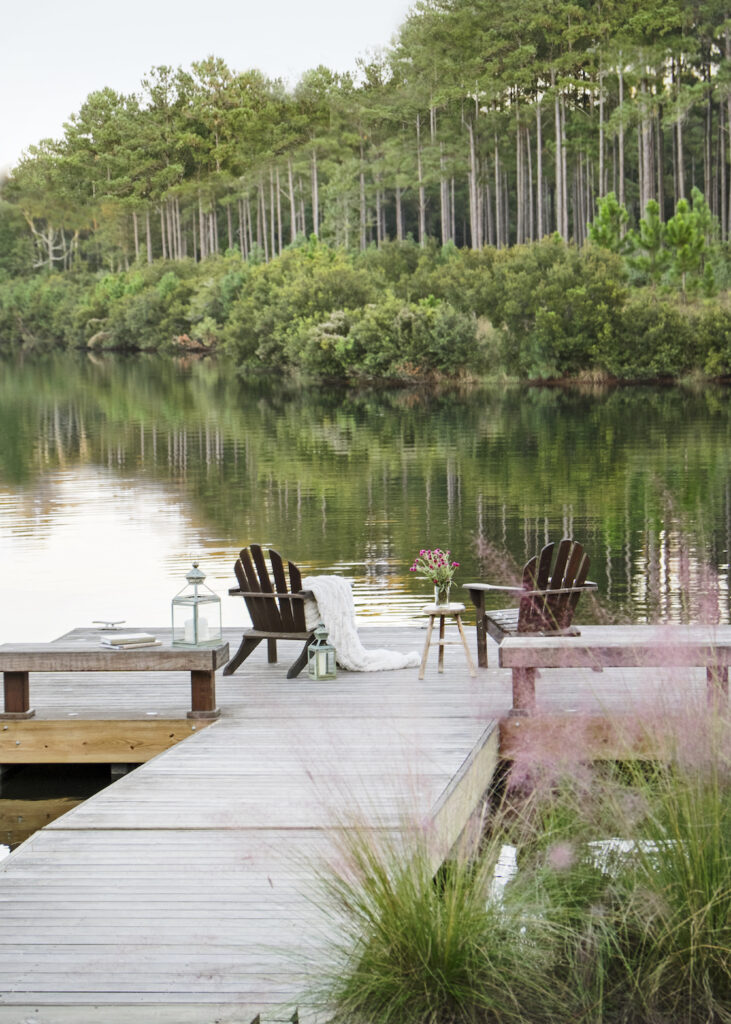 A dock in Palmetto Bluff styled by Suzanne Kasler.