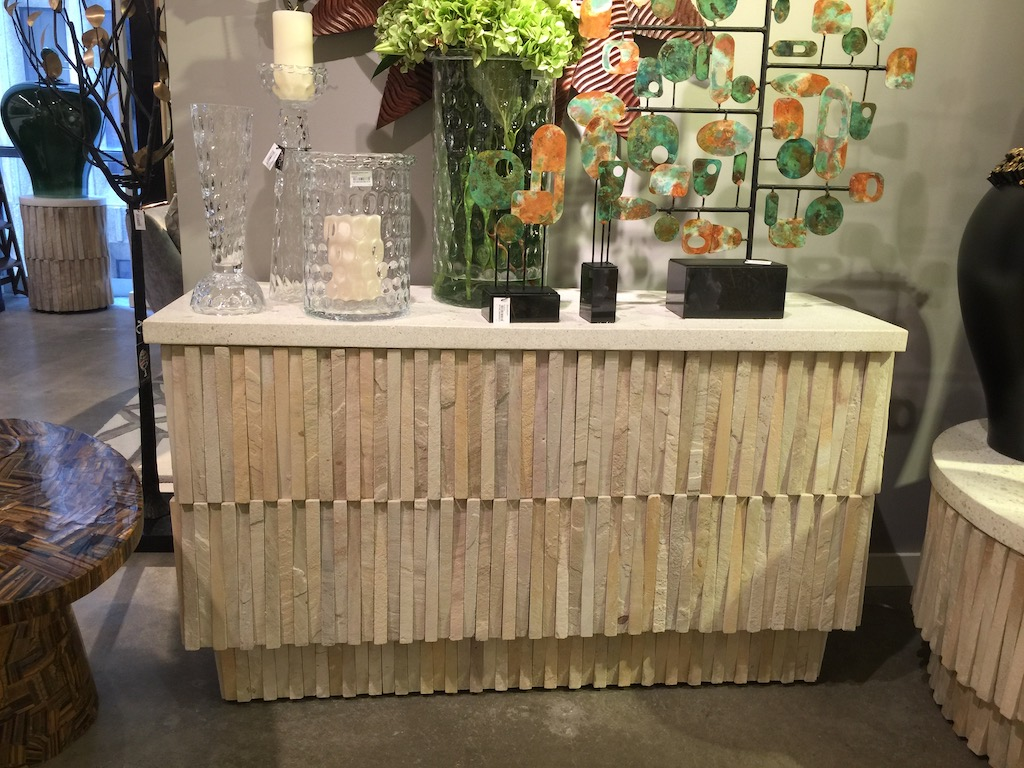 Global Views introduced the Teeter Totter console table to their showroom in AmericasMart.