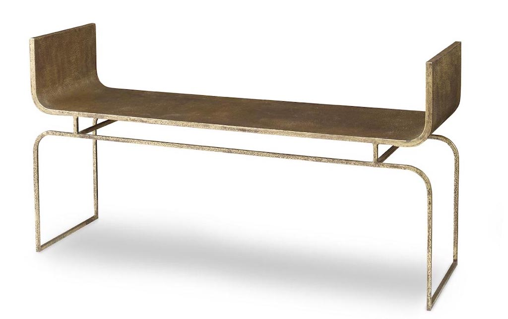 The Trieste bench in the Mr. Brown Home showroom in Atlanta has a lovely distressing to it.