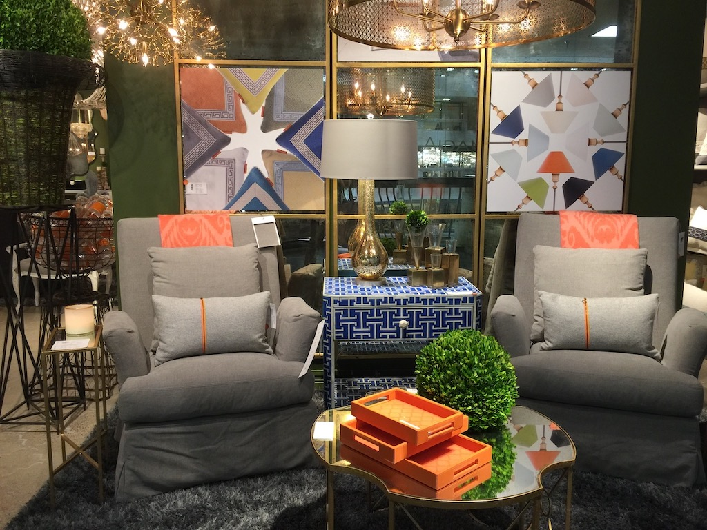 The Royal Blue side table by Aidan Gray at Dallas Market illustrates how navy is trending globally.