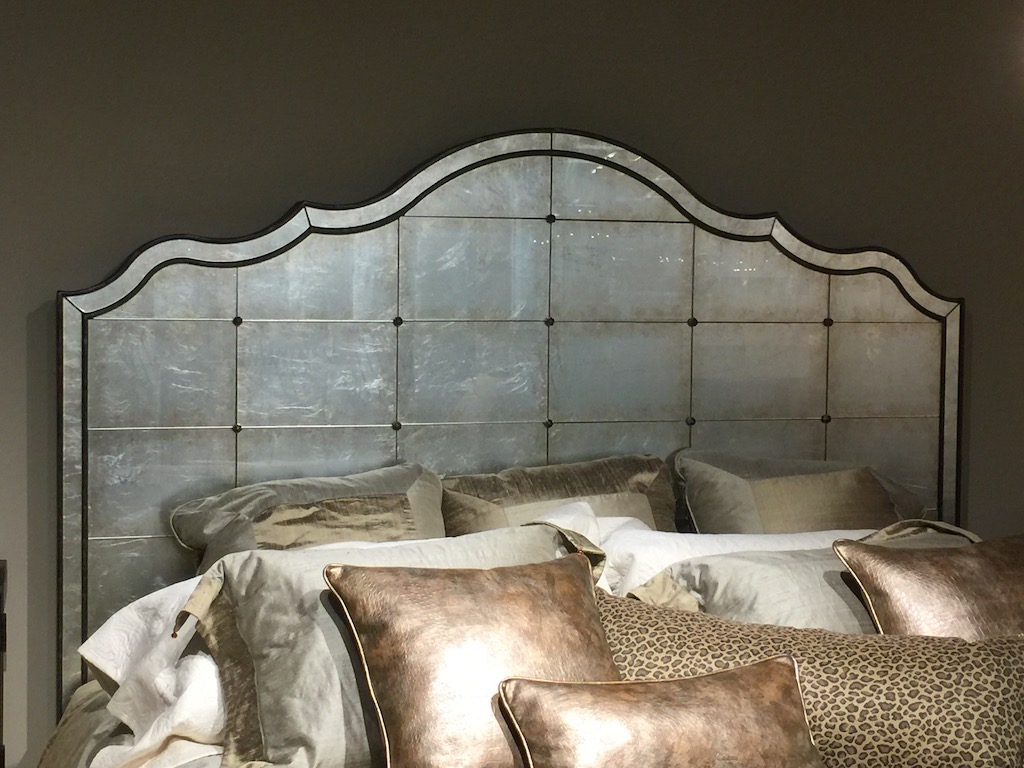 Bill Luttrell has such a wide array of products in his showroom in the Dallas Market Center, like this lovely mirrored bed that will definitely introduce patina in interior design.