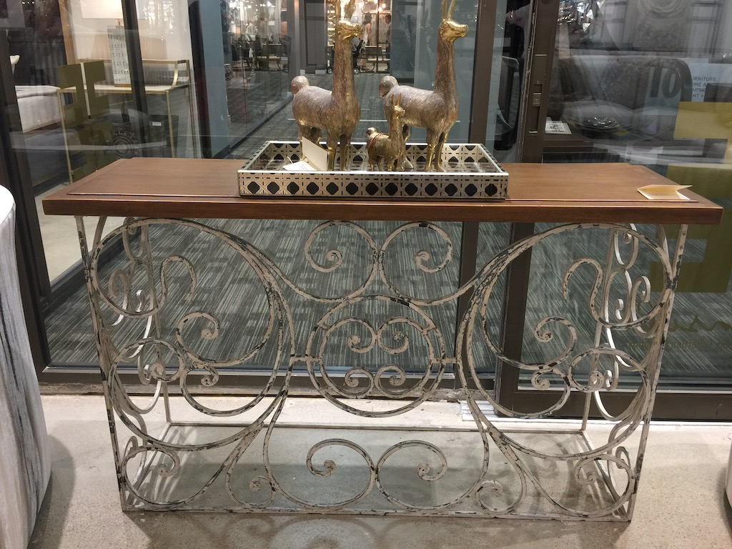 The Touch of France showroom in the Dallas Market Center has great finds like this console table.