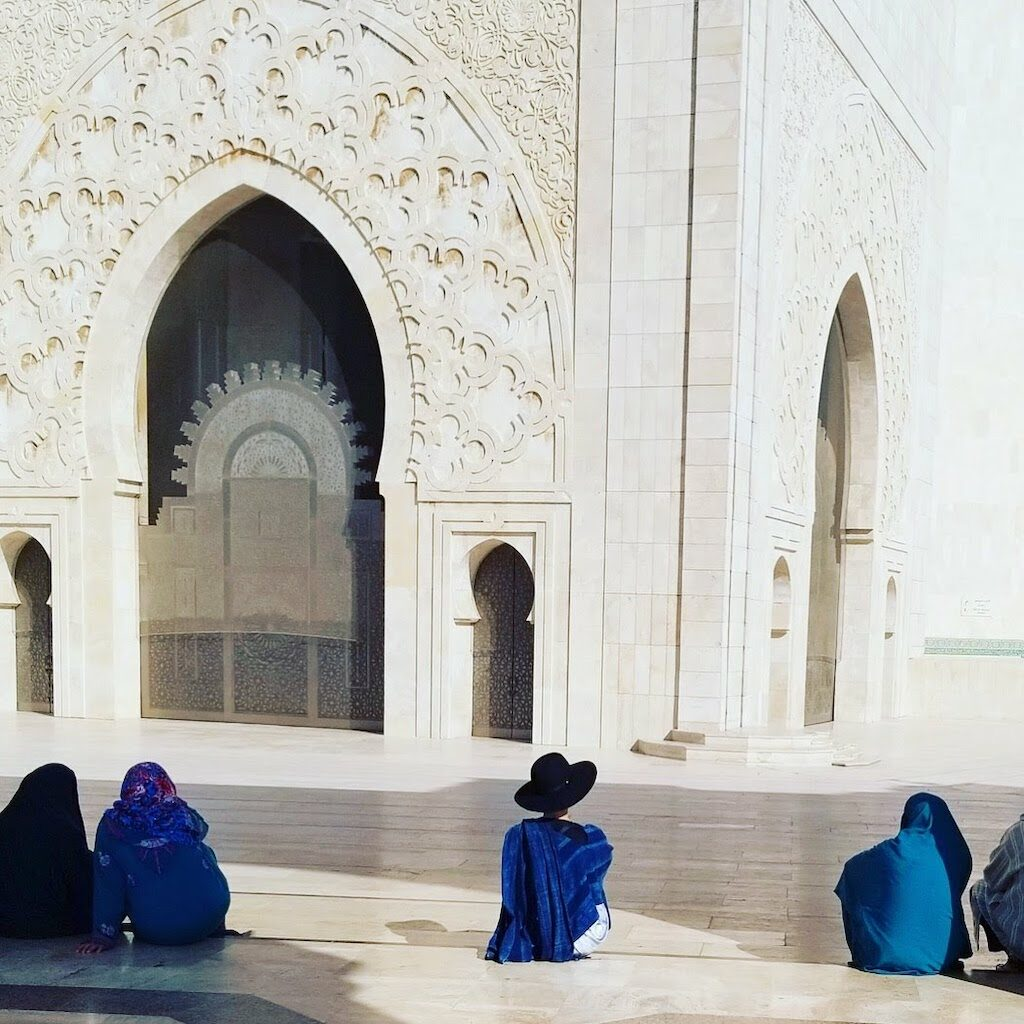 Aviva Stanoff in a brilliant blue in Morocco.
