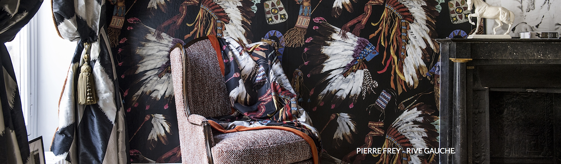 Navy blue hues trending globally include this pattern with Native American motifs
