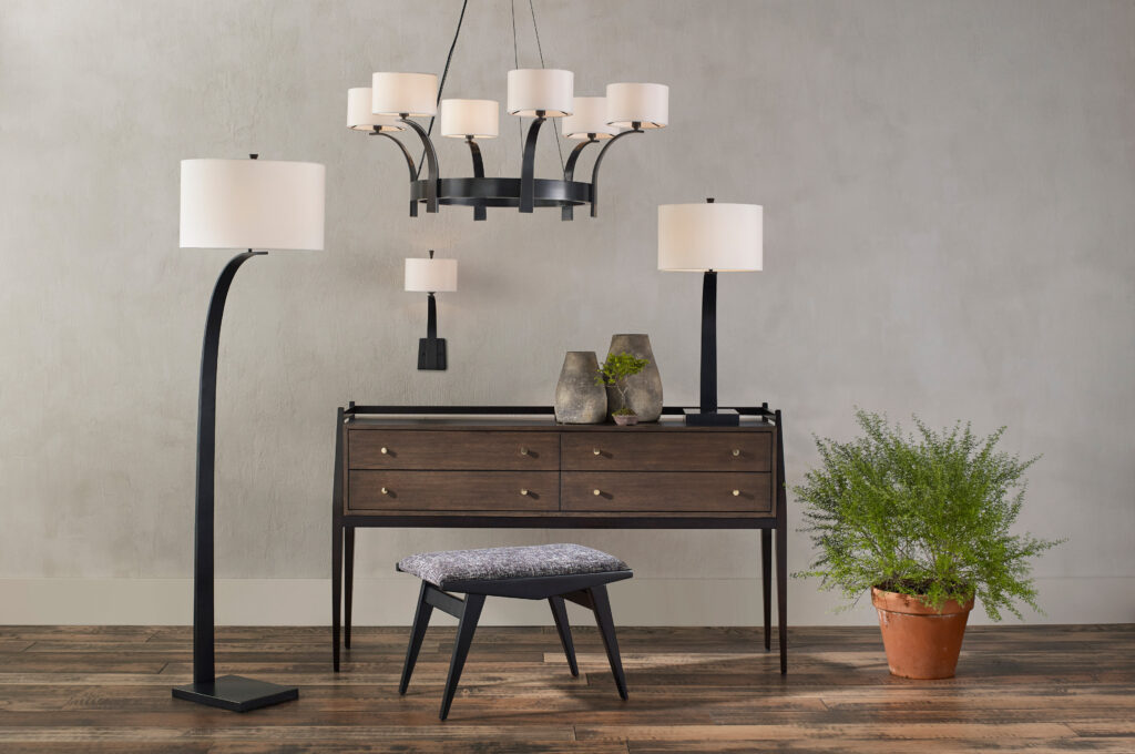 The Masonic family of lighting by Currey & Company is an excellent example of asymmetrical design elements.