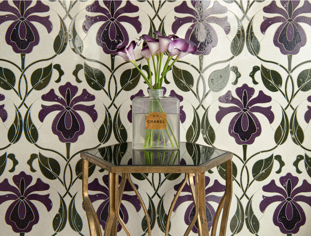 May, a waterjet stone mosaic shown in honed Ivory Cream with polished Iris, Viola, and Olive Glazed Basalto™, pays homage to textiles.