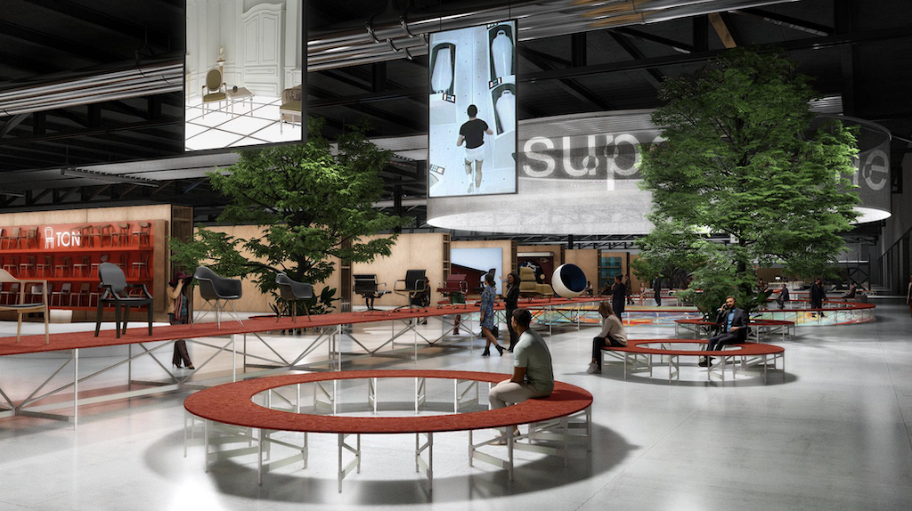 A rendering of the socializing and relaxation areas for Salone del Mobile coming to Milan in September.