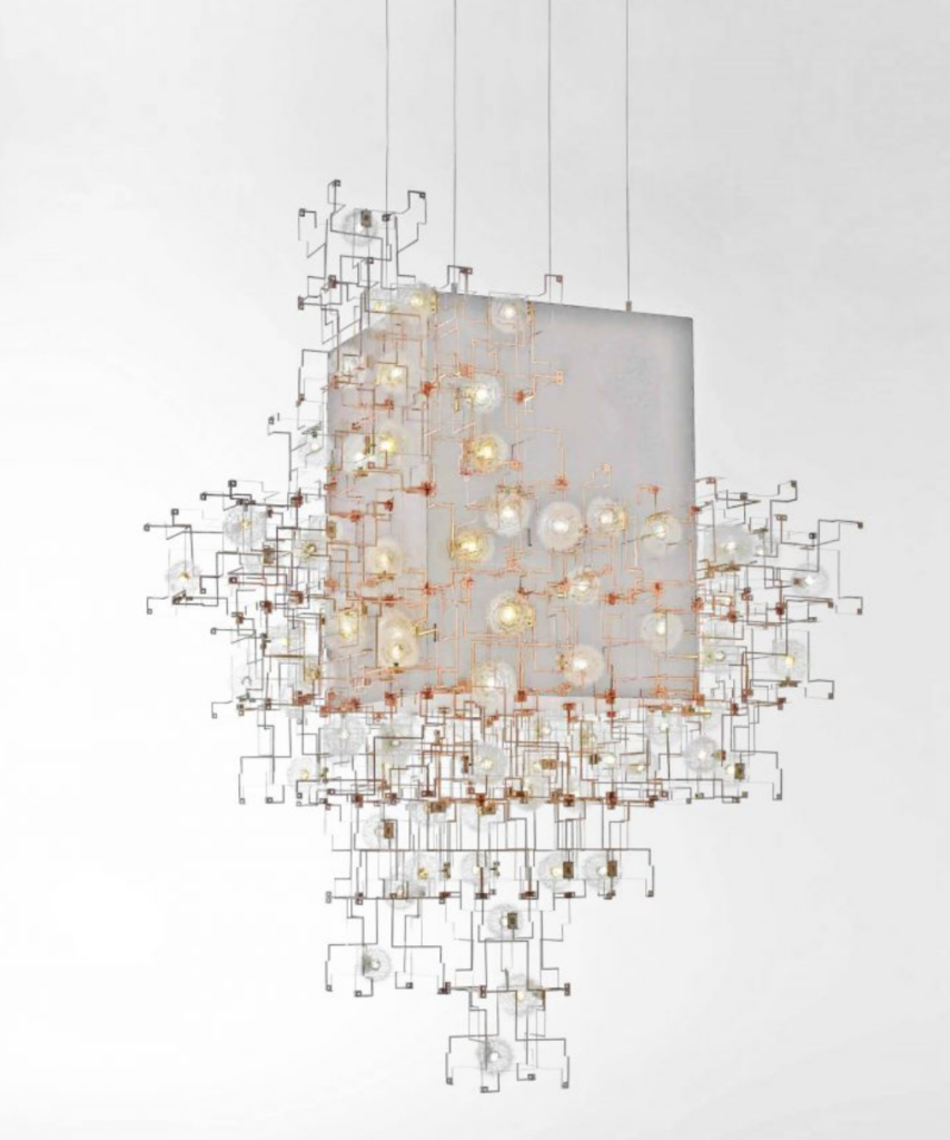 The Fragile Future Concrete Chandelier designed by Studio Drift is one of our favorite asymmetrical design elements spotted stateside.