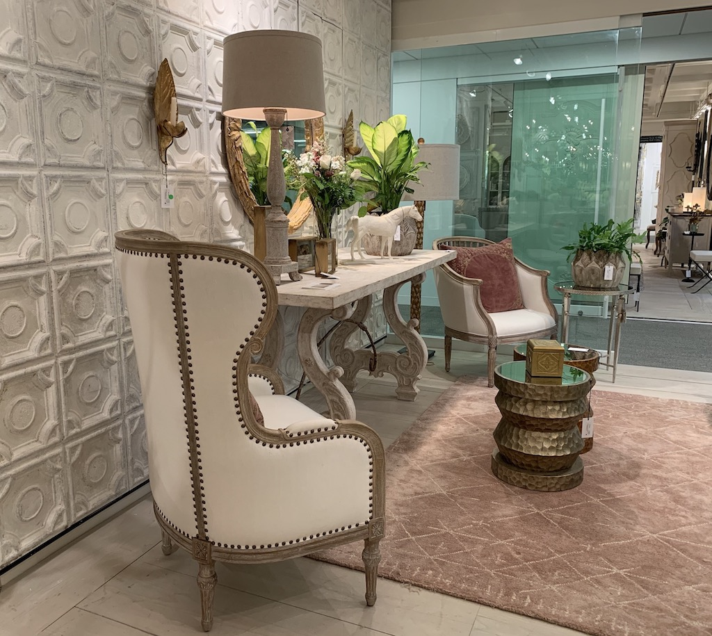 Bliss Studio had a number of products that illustrate the pink trend, including the pillow and carpet in this image.