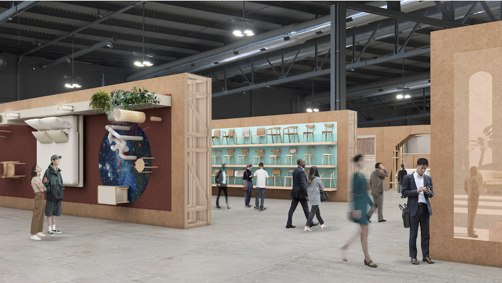 A rendering of the installations designed by Boeri and his collaborators at Salone del Mobile 2021.