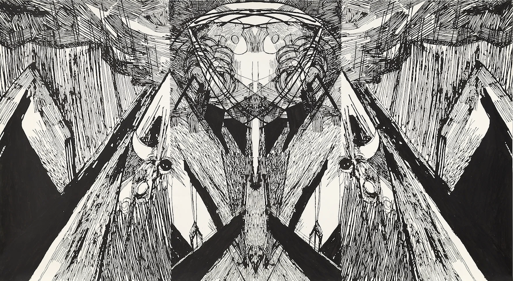 Tramontane, 2009, is a piece of contemporary art that inspired one of Herdthinner's patterns, as seen in the two images above.