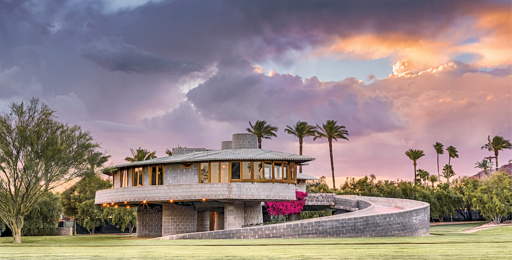 """The David and Gladys Wright House in Phoenix, Arizona, is one of the projects that illustrates the Lesson """"Spiral to Heaven."""" Image © Andrew Pielage."""