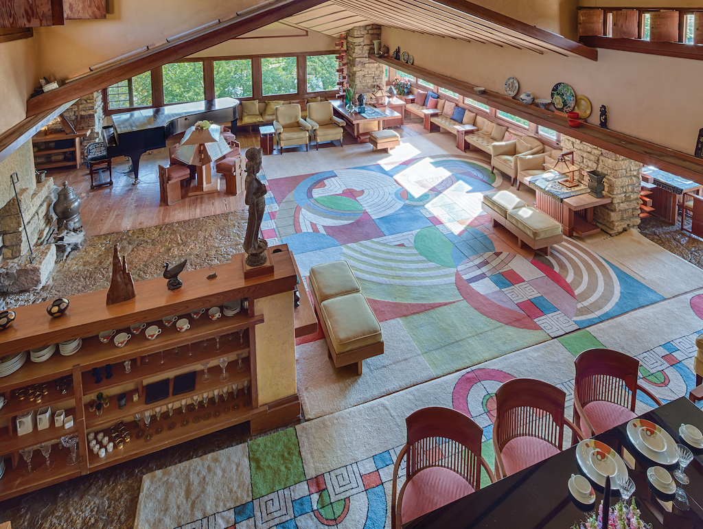 This image of Taliesin III in Spring Green, Wisconsin, is an example of how Frank Lloyd Wright formed a room with furniture. Image © Andrew Pielage.