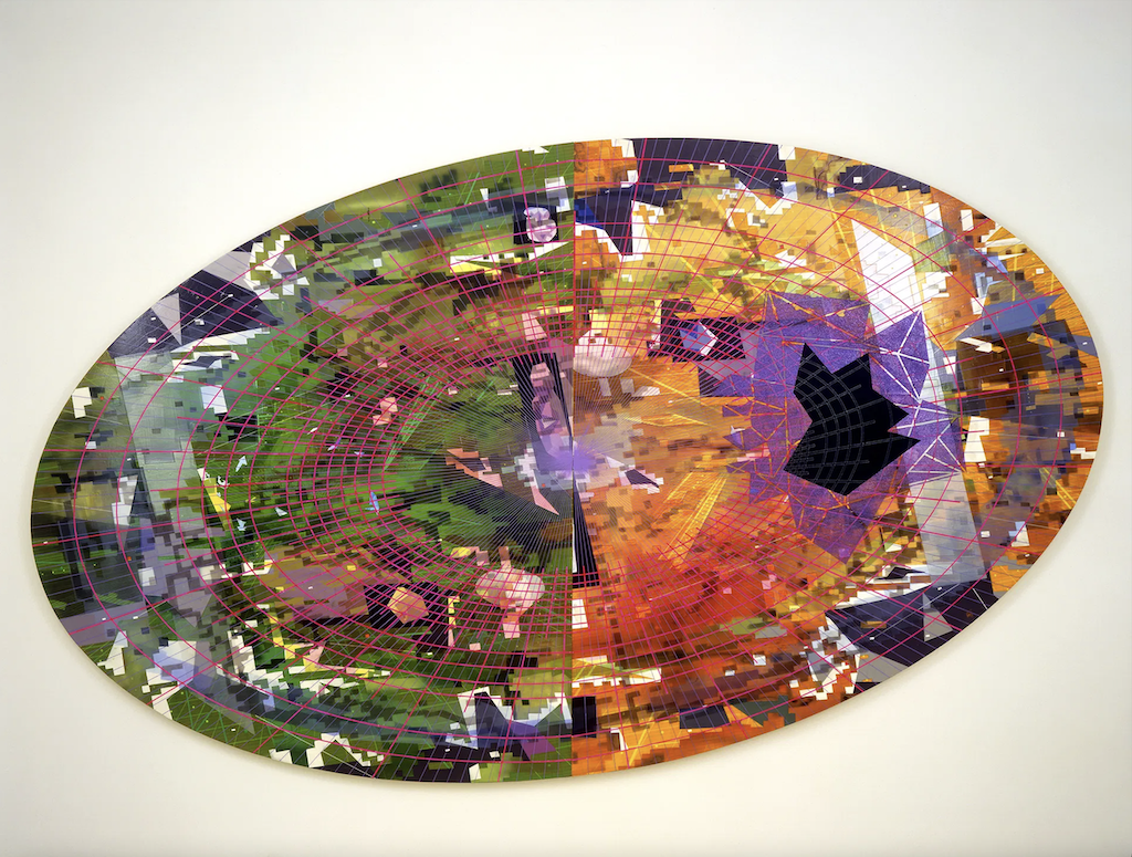 Tilted Landscape I, 2005, is a piece of contemporary art transformed through this apparel line.