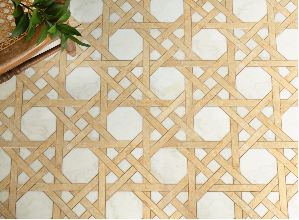 Afi, a hand-cut stone mosaic shown in polished Nero Marquina with honed Calacatta Tia, Bardiglio, and matte Dahlia Glazed Basalto™, honors weavers throughout history.