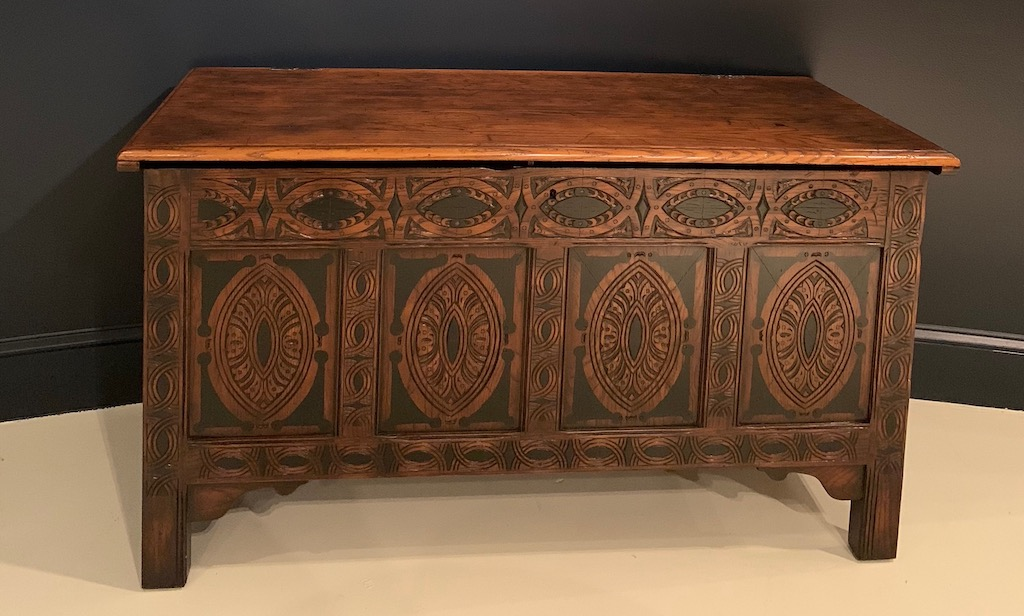 This is the original trunk that belonged to George Washington's family before they left for America, a reproduction among the new pieces for Theo Alex.