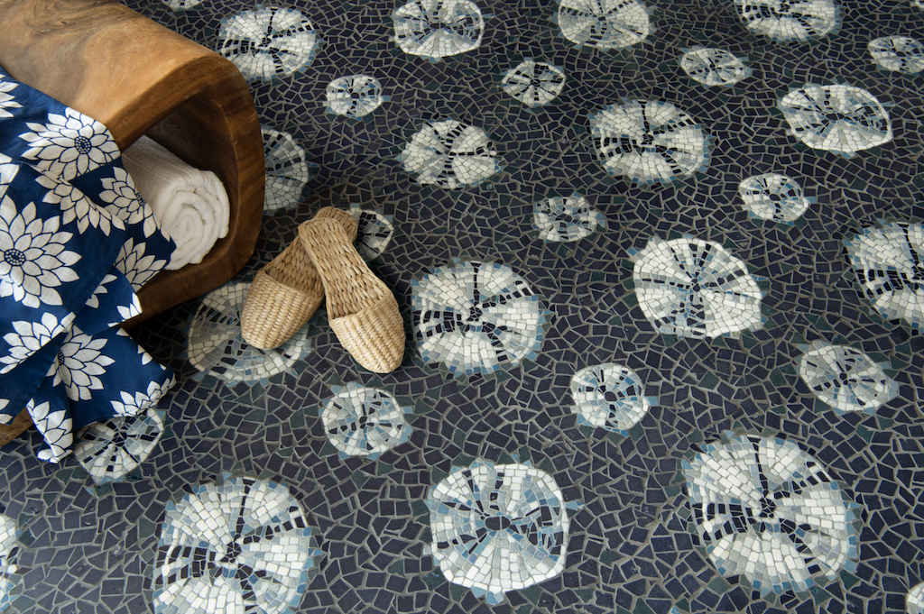 Himiko, a hand-cut stone mosaic is one of New Ravenna's new mosaics that is a nod to Textiles.