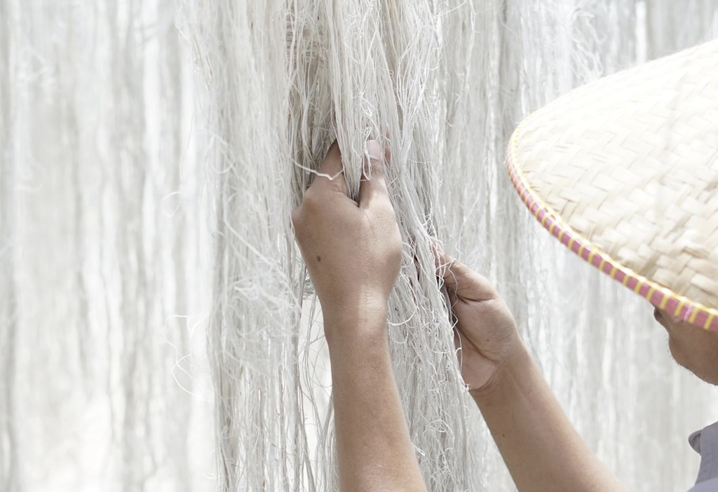 The Hartmann & Forbes ramie fibers being examined by one of the company's skilled artisans.