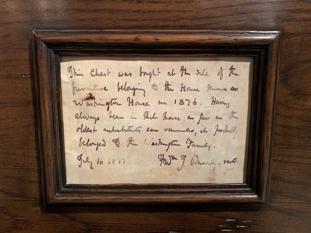 The note inside the Washington chest that was on view during Market.