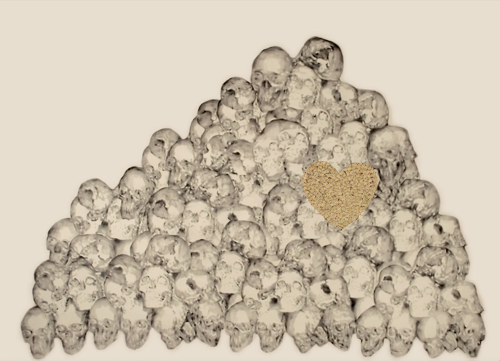 Skulls 2, 2008, is a piece of contemporary art Weinberg chose for his apparel collection.