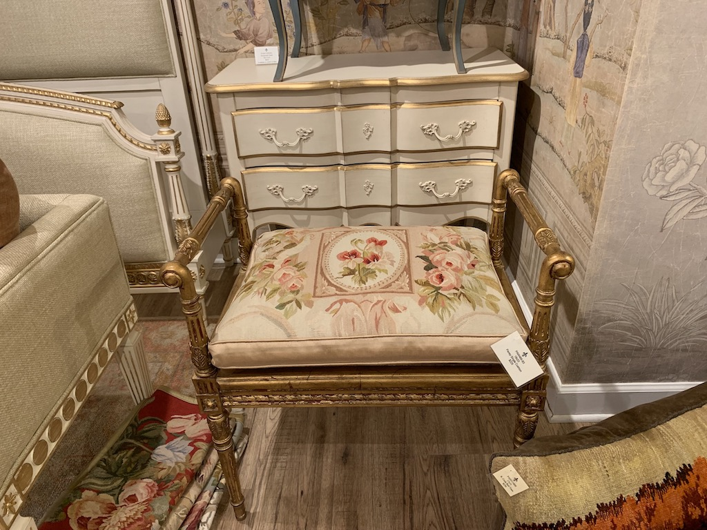 The French Market Collection Alina Single Gold bench with the Pansy Alina Single cushion.