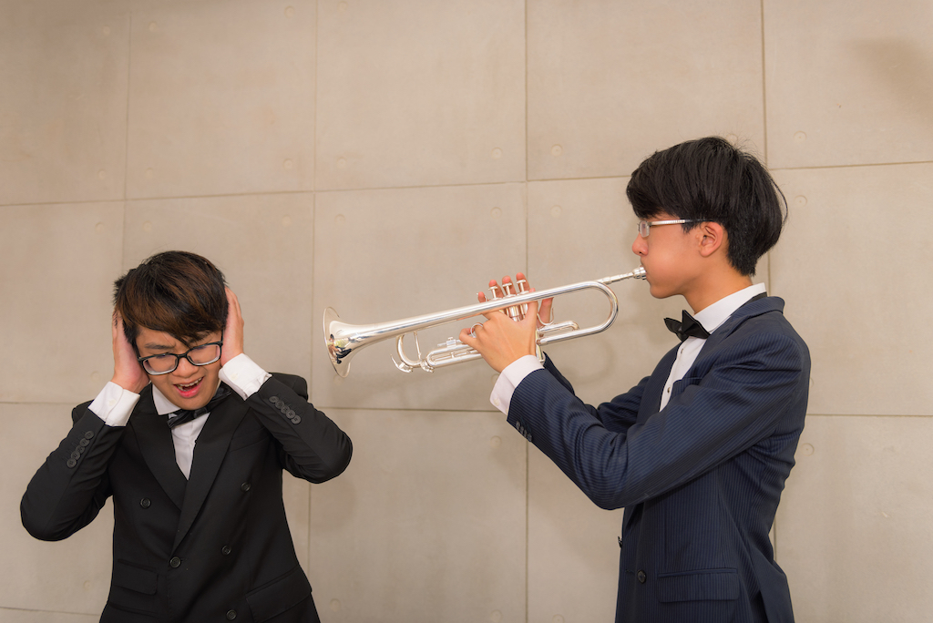 Two boys, one with a trumpet blowing at the other whose ears are covered to represent adroyt's white papers 09.
