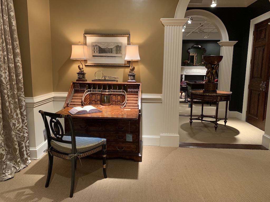 The Grand Staircase Fall Front Desk & Bureaux paired with the Coronet side chair.