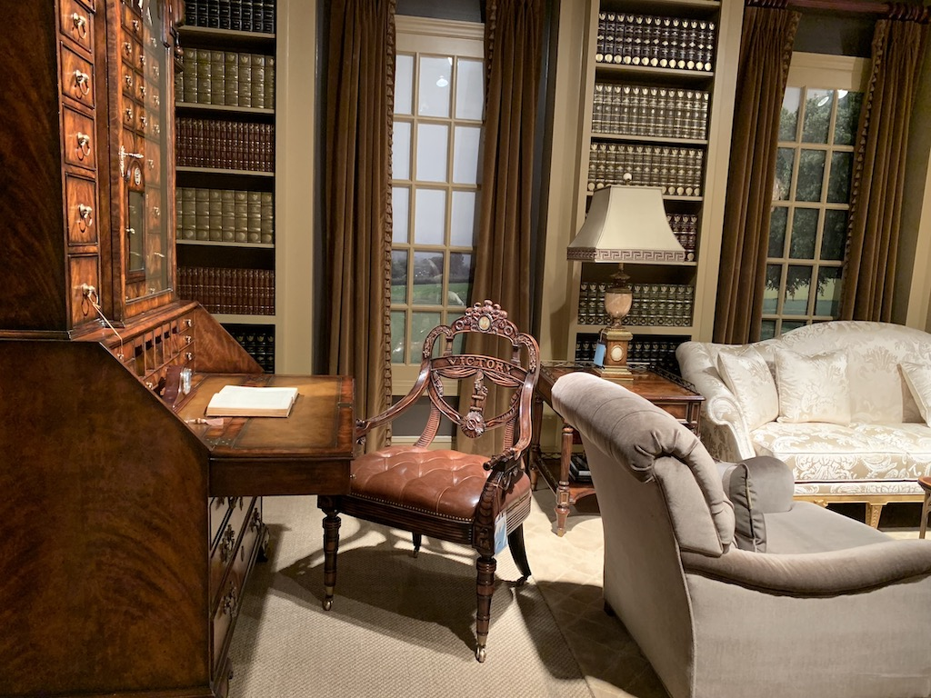 The Ad Victoriam arm chair with the King William Bedroom Bureau Cabinet are among new debuts by Earl Spencer.