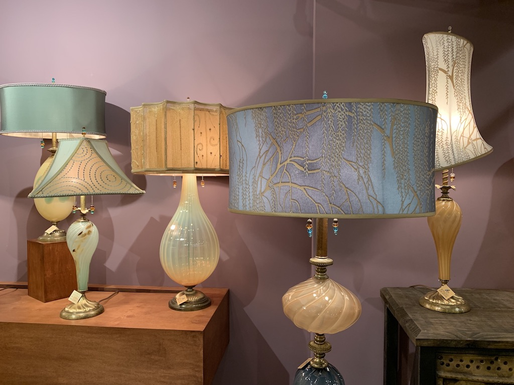 Lamps by Kinzig Design with pale pink glass bodies illustrate the pink trend we're seeing.