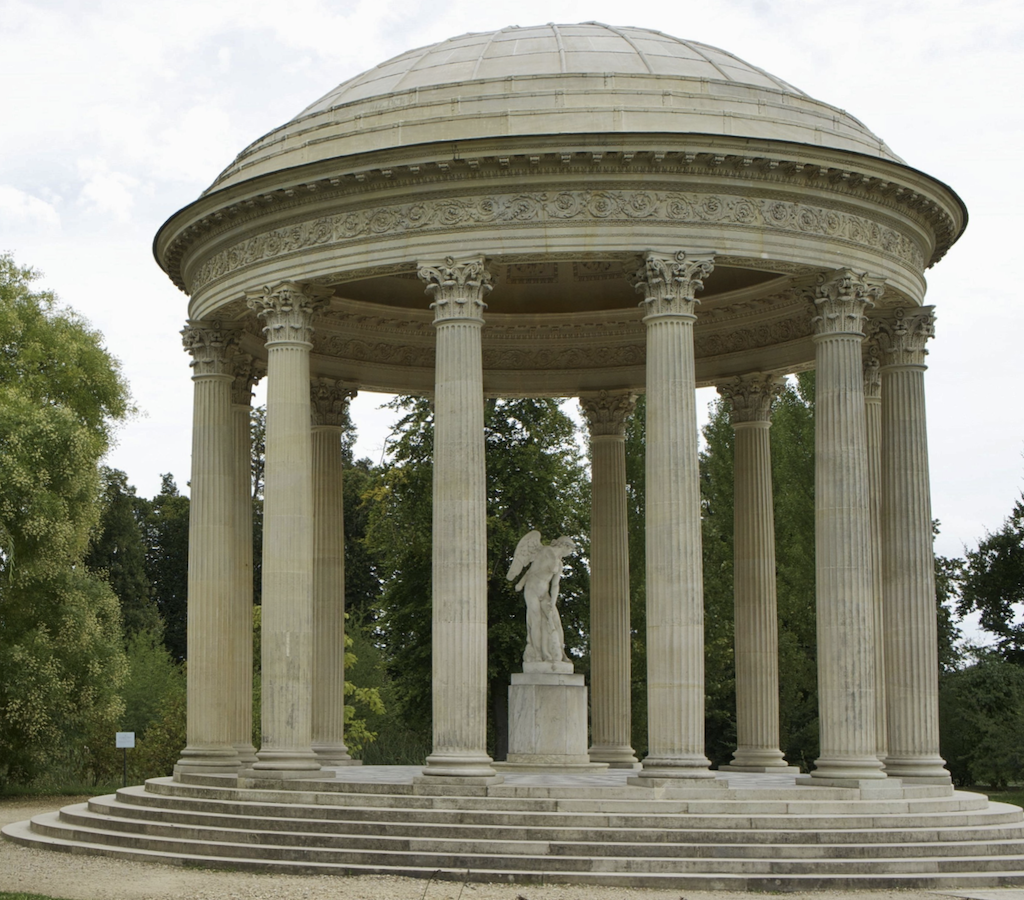 A closer view of the Temple of Love nestled into the English Gardens where the Lalanne sculptures are being exhibited.