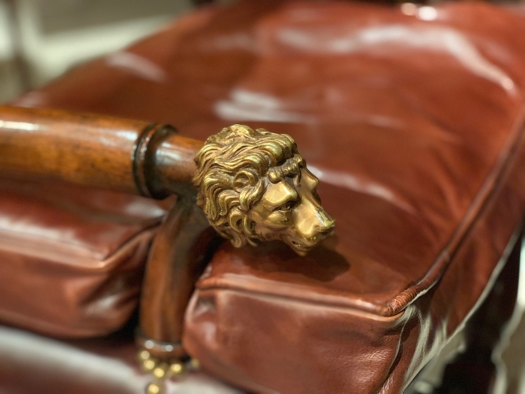 Lion's head detail of one of the furniture debuts by Earl Spencer.