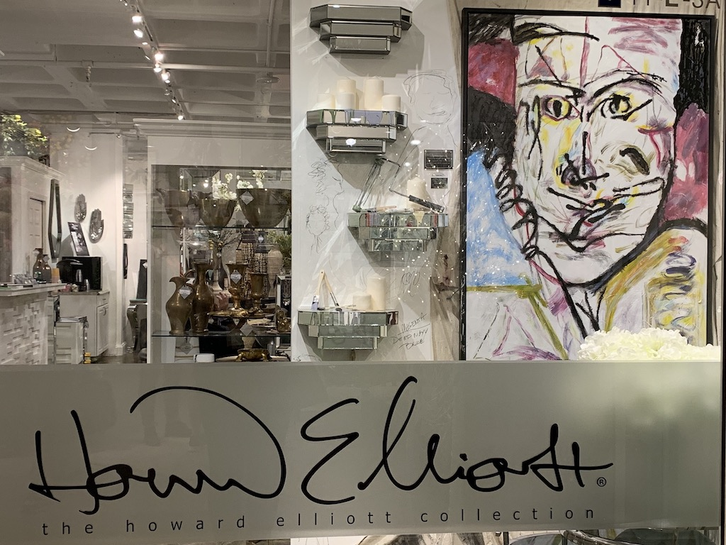 A pert hue of pink enlivens the Howard Elliott painting to make it a shoe-in for our pink trend.
