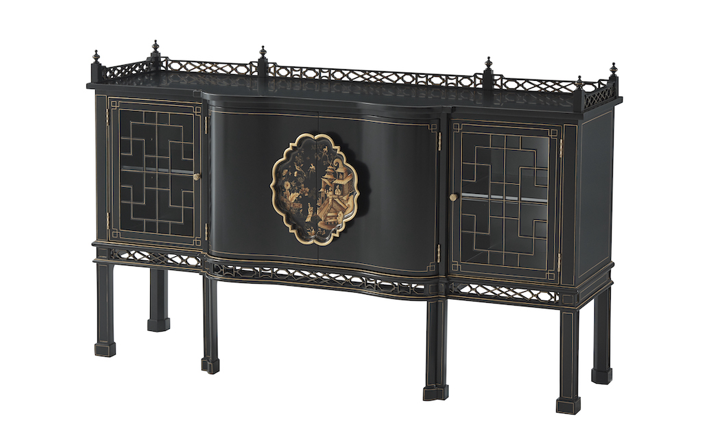 An ebonized serpentine sideboard in the Althorp Living Collection.