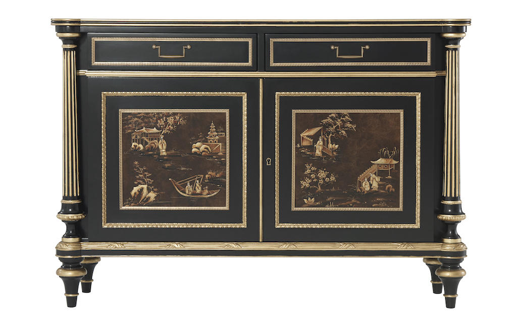 An ebonized mahogany and parcel gilt side cabinet in the Althorp Living Collection.
