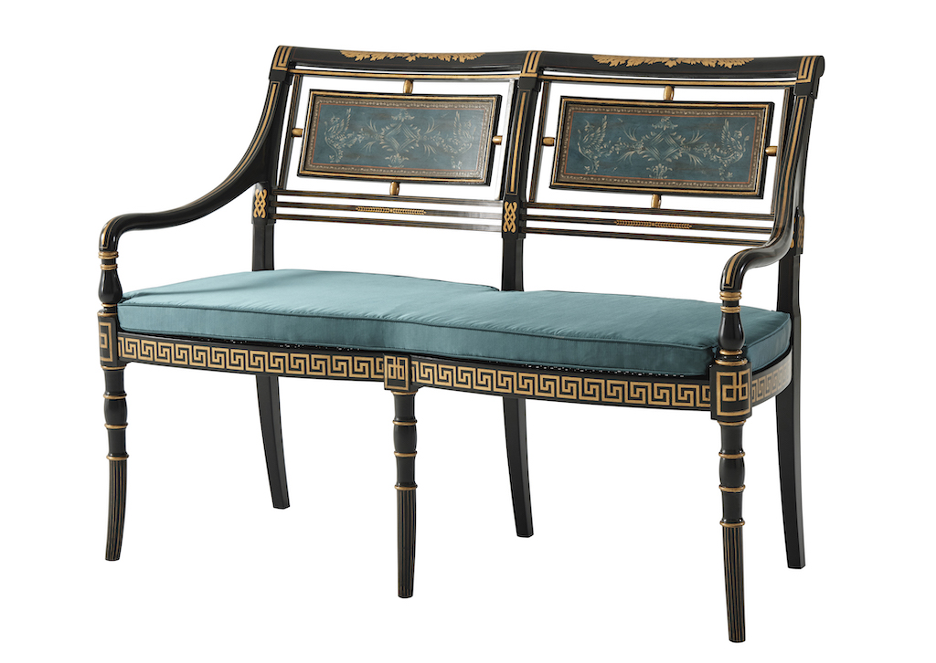An ebonized and hand-painted settee is among the new debuts by Earl Spencer.