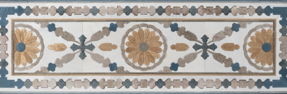 An Aubusson rug pattern in hair-on-hide